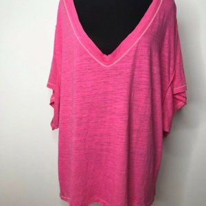 We The Free People Womens T-Shirt Pink Short Batwi
